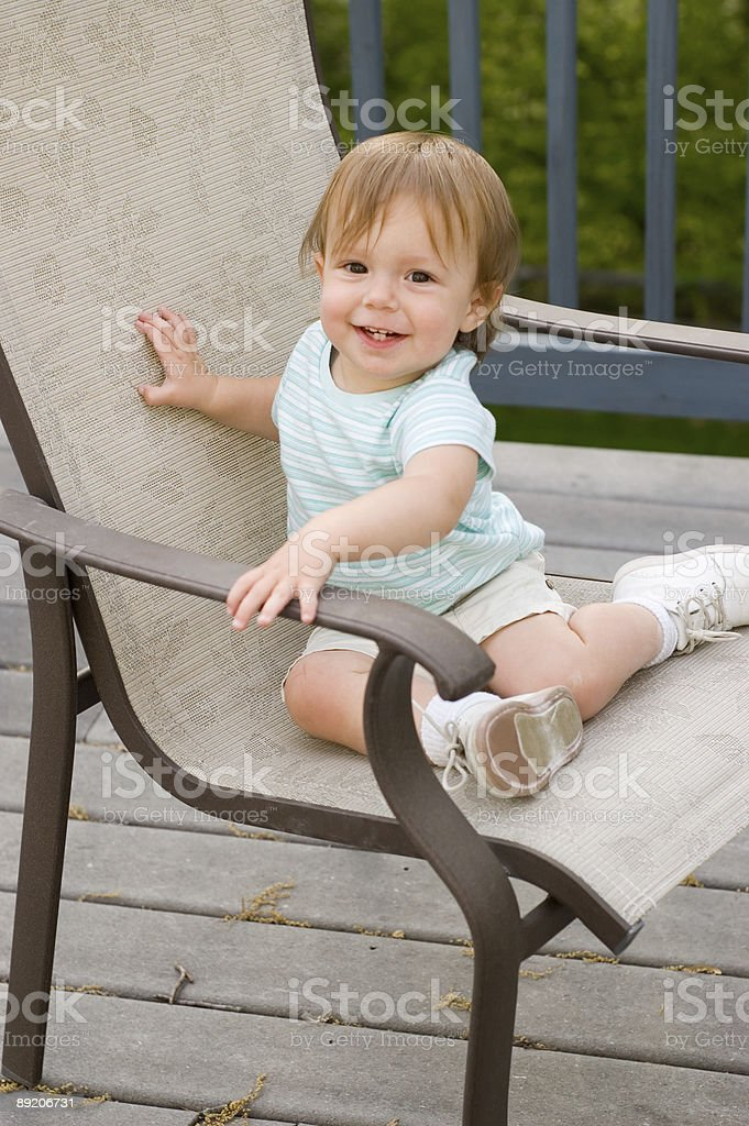 Baby on Deck Chair royalty-free stock photo