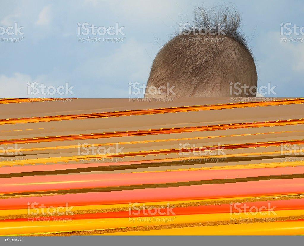 baby on the beach stock photo
