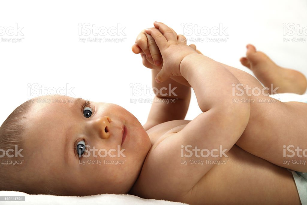 Baby on the bed. royalty-free stock photo