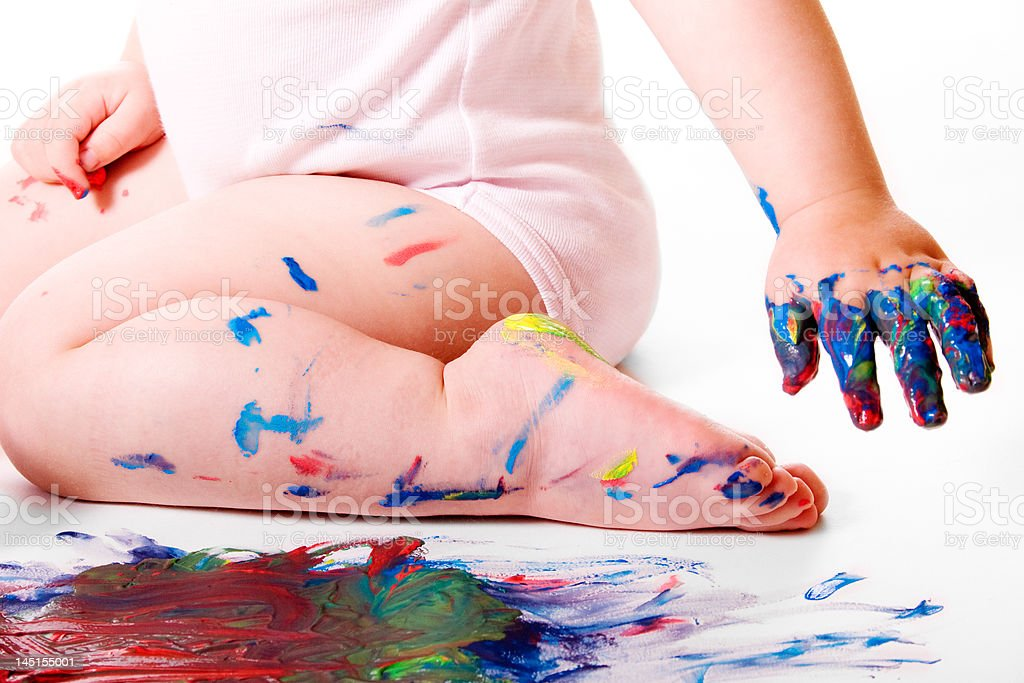 Baby Painted Fingures stock photo