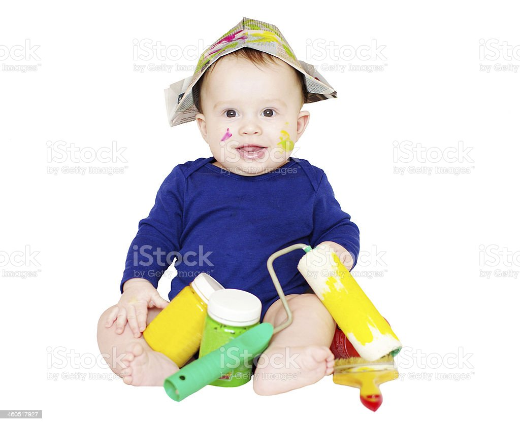 baby painter with paints stock photo