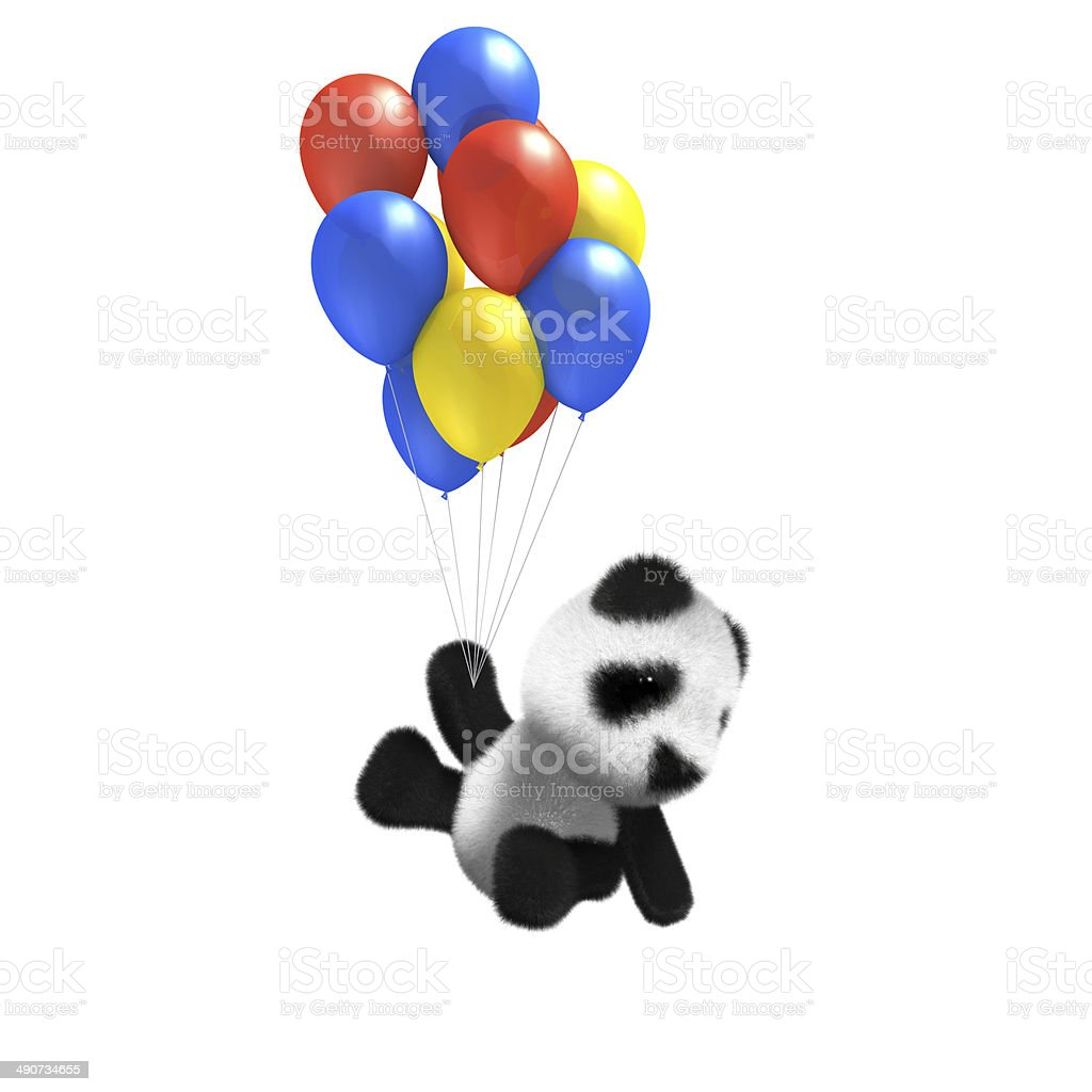 3D Baby Panda balloon ride stock photo