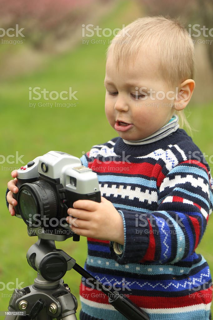 baby photographer on the nature royalty-free stock photo