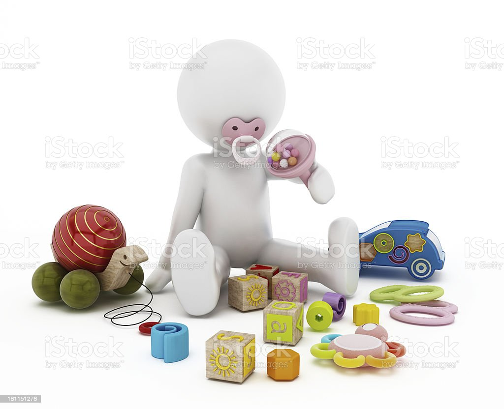 Baby playing with toys stock photo