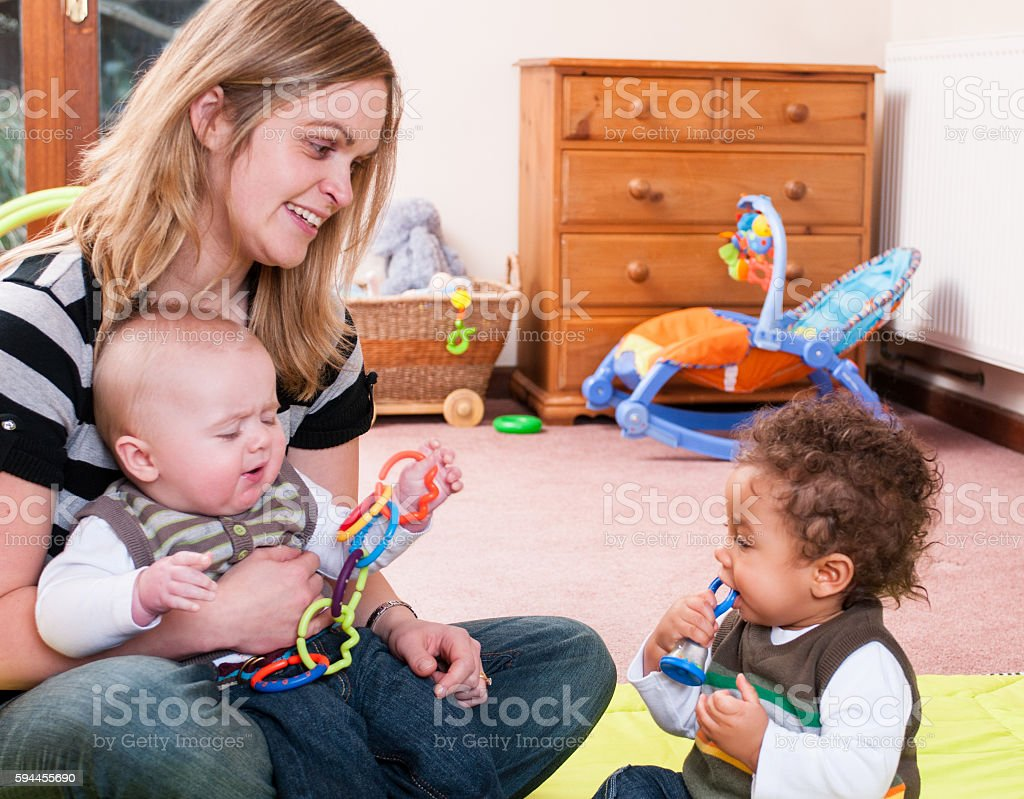 Baby Playtime Interaction stock photo