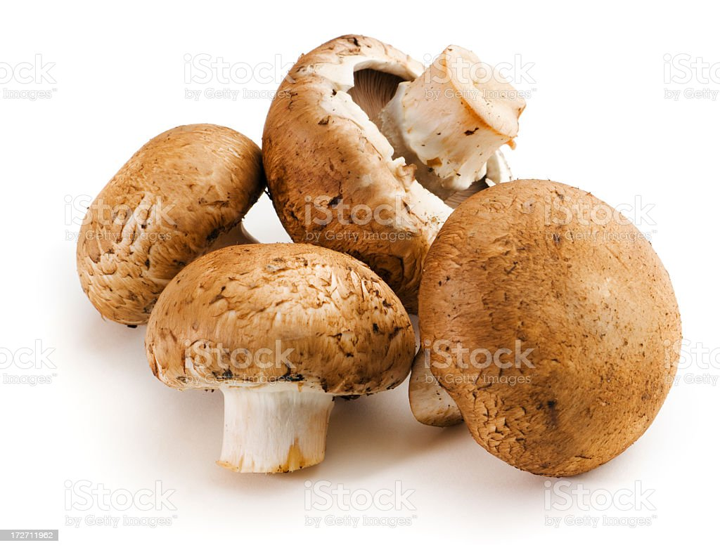 Baby Portabello Mushrooms, Fresh Raw Vegetable Isolated on White Background stock photo