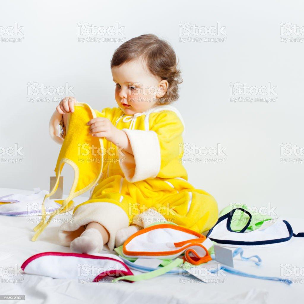 Baby posing in studio stock photo