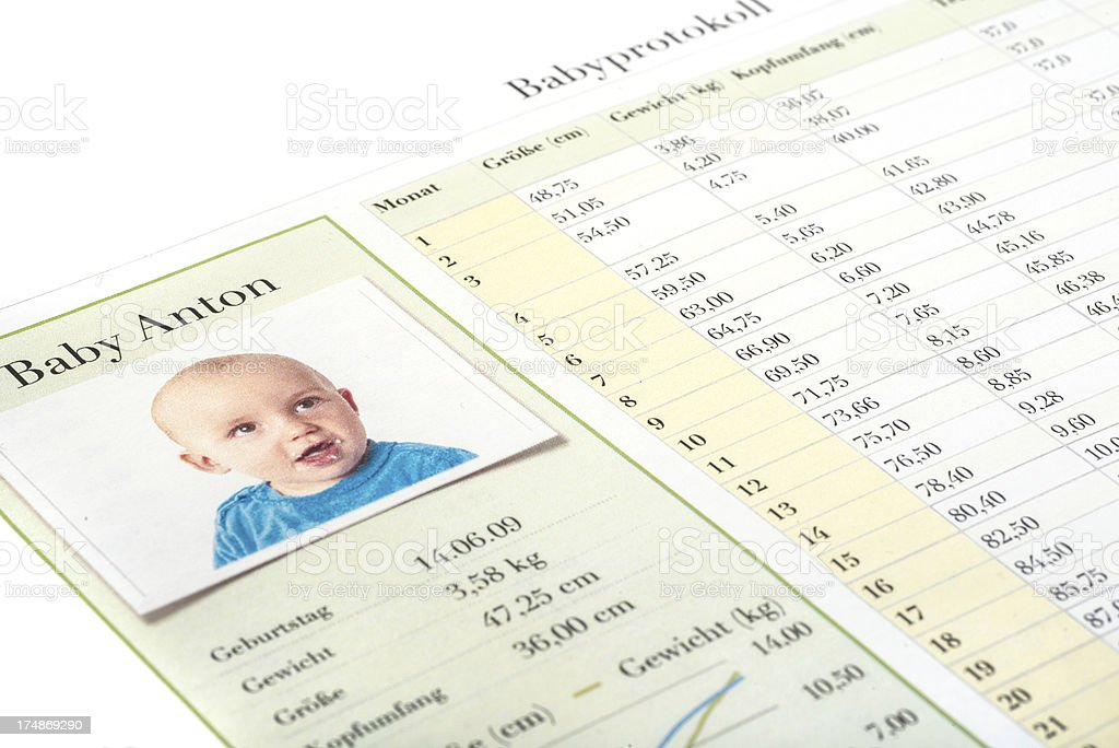 Babyprotokoll stock photo