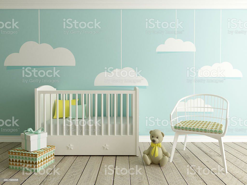baby room, nursery interior stock photo