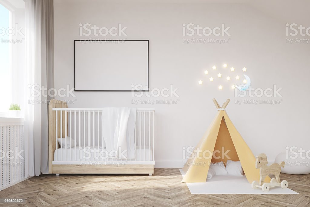 Baby room with a moon stock photo