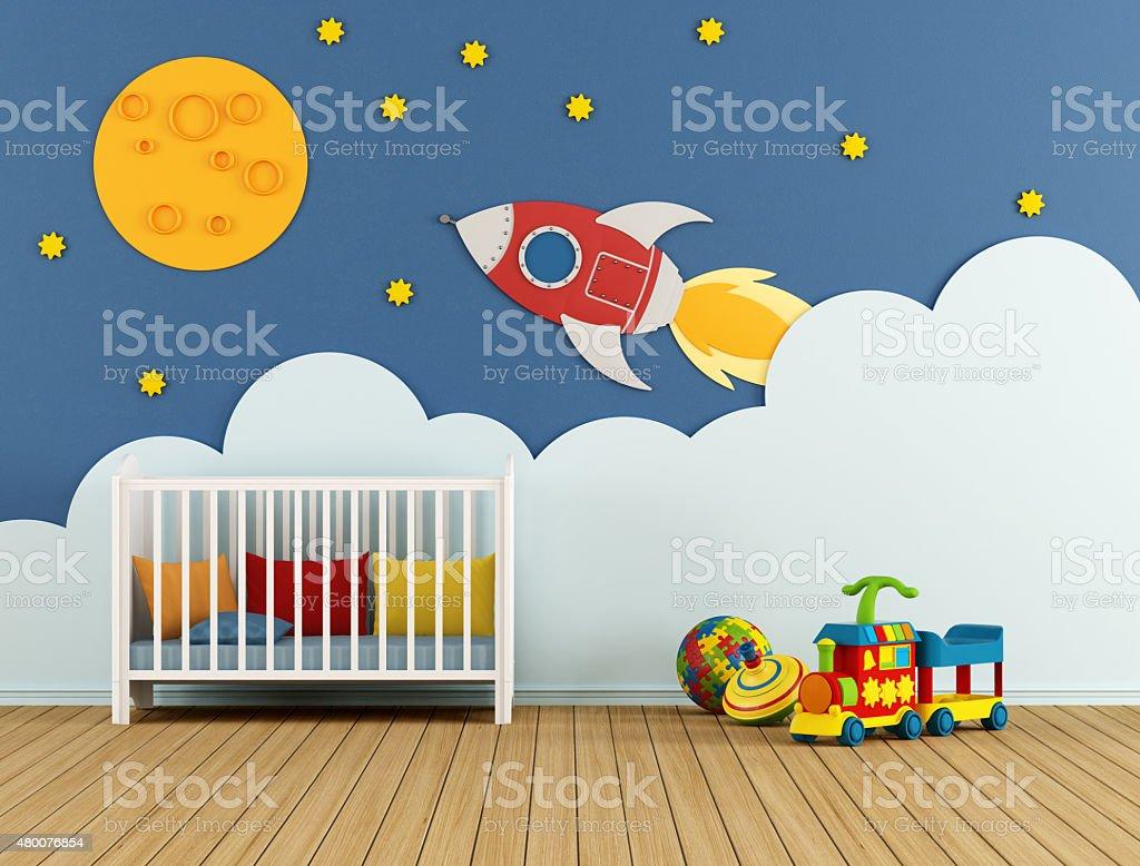 Baby room with cradle stock photo