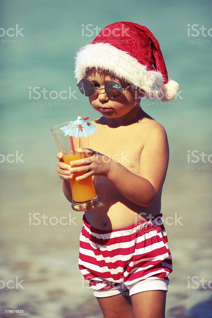 Baby Santa Claus resting royalty-free stock photo