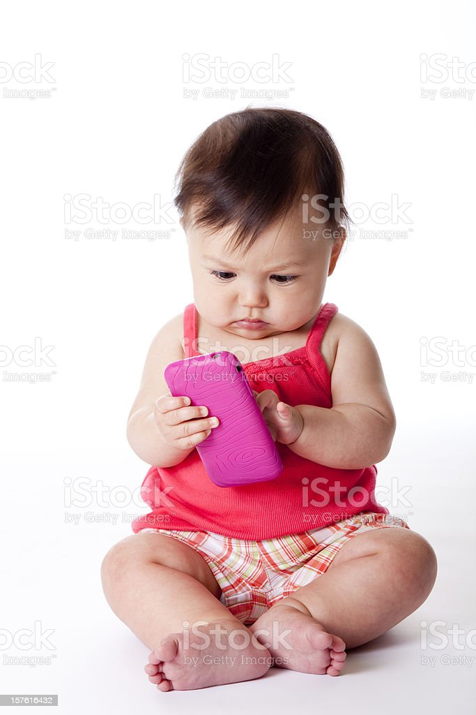 baby sending a text message royalty-free stock photo