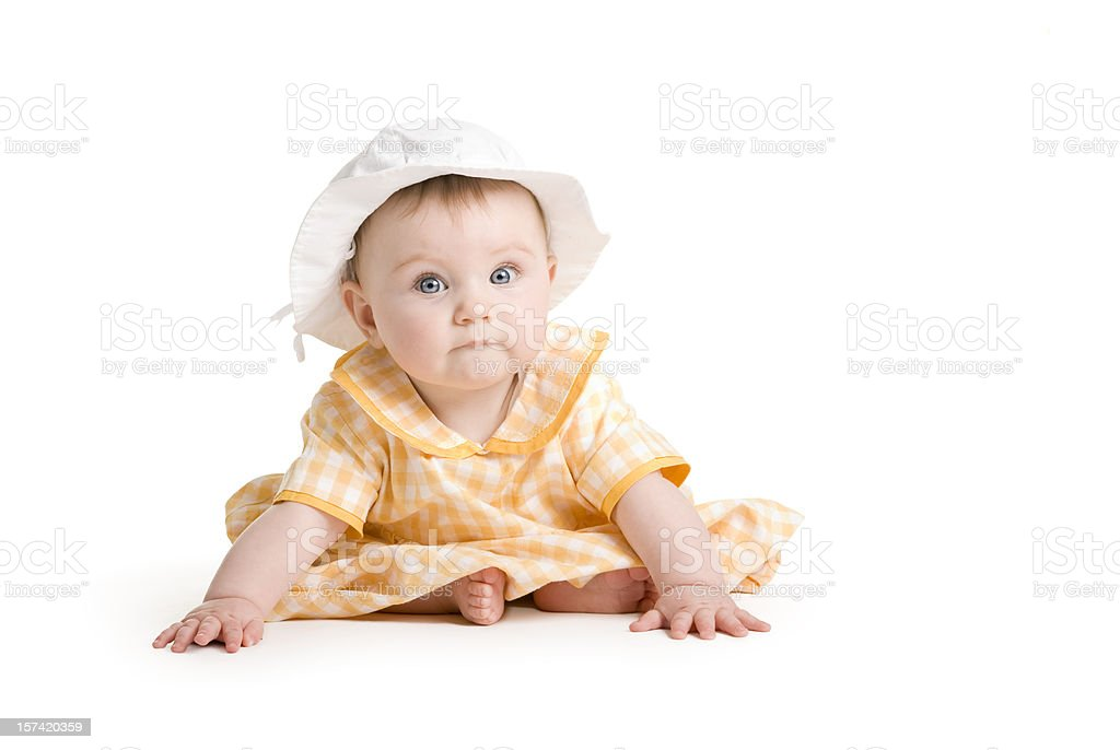 Baby series. i love my yellow dress royalty-free stock photo