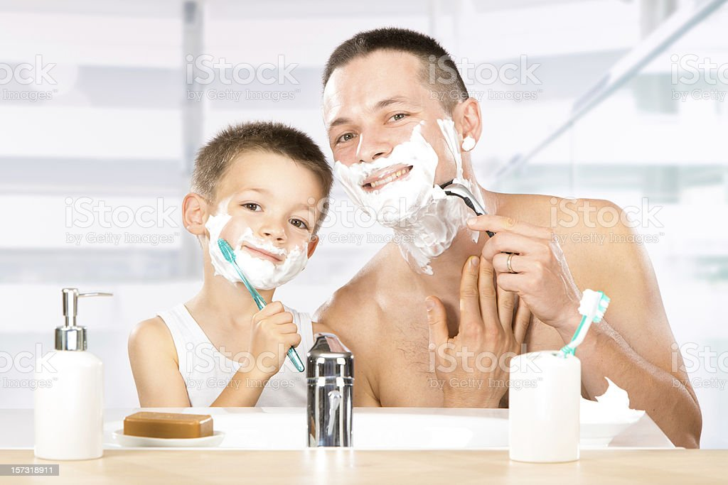baby shaves with dad royalty-free stock photo