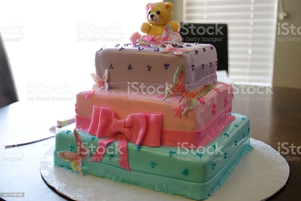 baby shower cake for girl stock photo