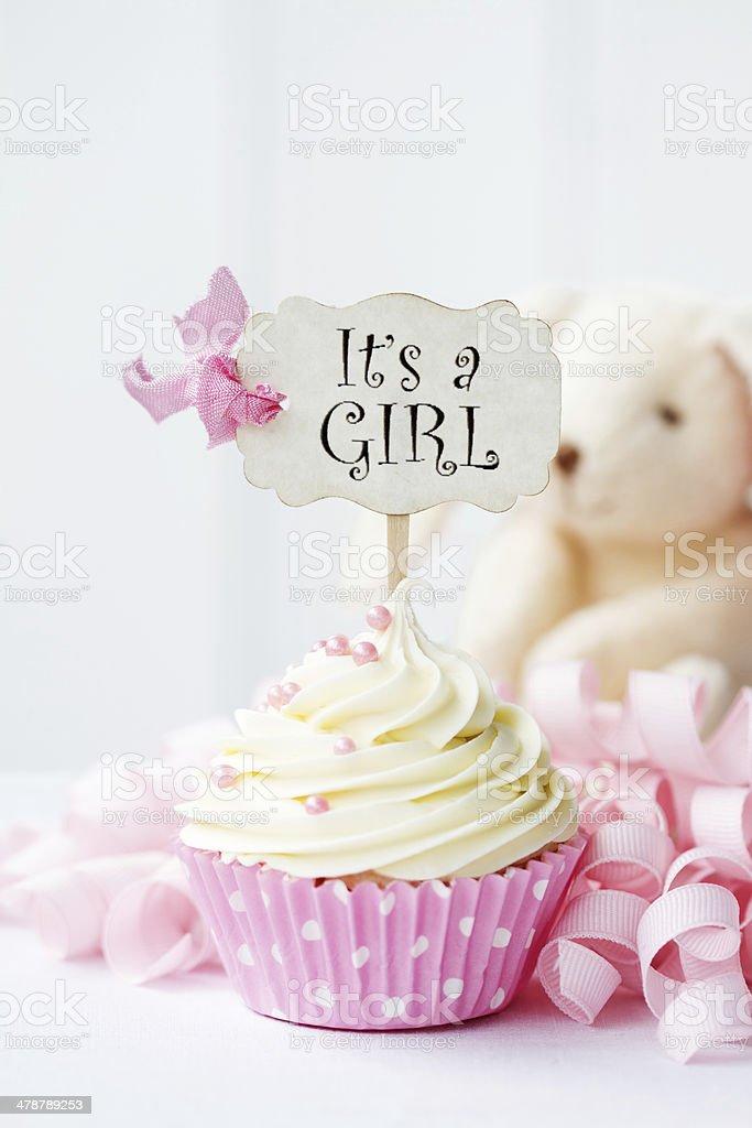 Baby shower cupcake royalty-free stock photo