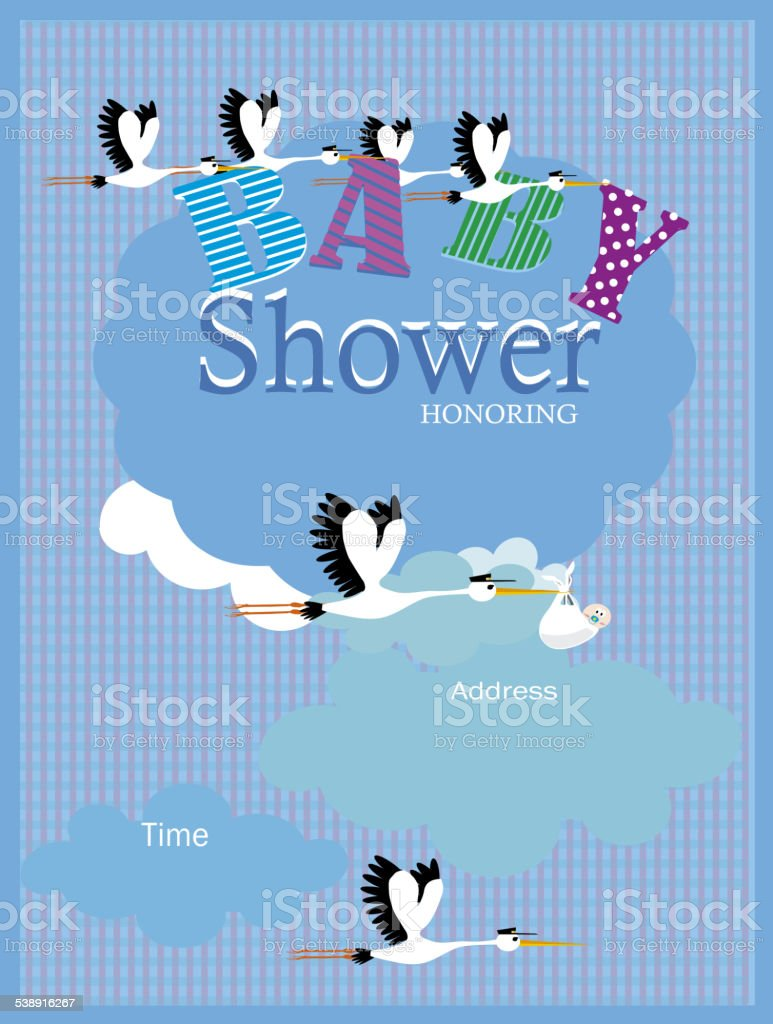 Baby Shower Invitation Stork and baby vector art illustration