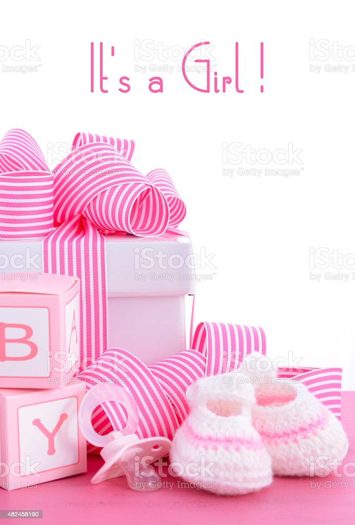 Baby shower Its a Girl pink gift stock photo