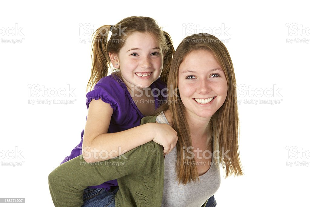 Baby Sitter Giving a Piggy Back Ride royalty-free stock photo
