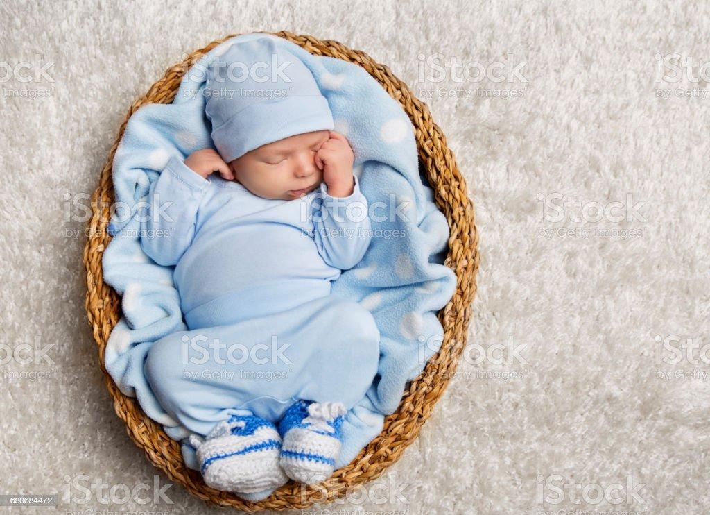 Baby Sleeping, Newborn Kid Sleep Basket, New Born Child Asleep in...