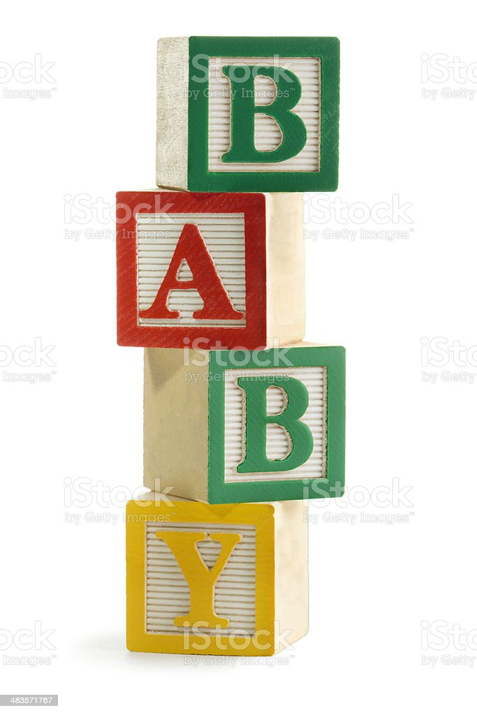 """Baby"" Spelled in Stacked Alphabet Toy Blocks, for Learning, Playing stock photo"
