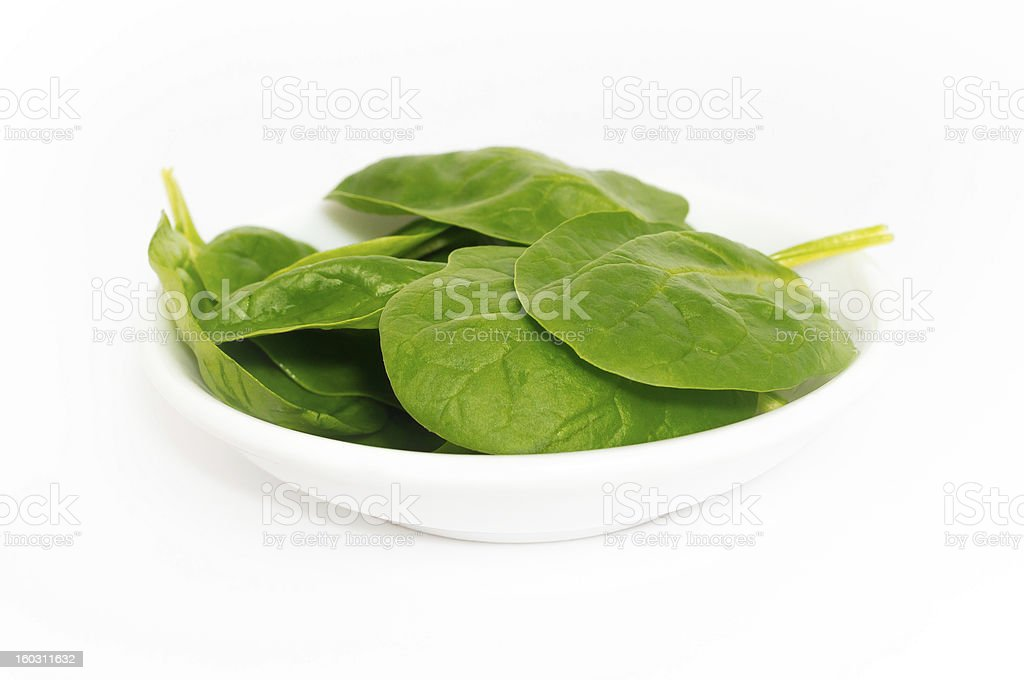 Baby Spinach Leaves on a Round Small Plate royalty-free stock photo