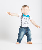 Baby Standing in Funny Surfing Posistion