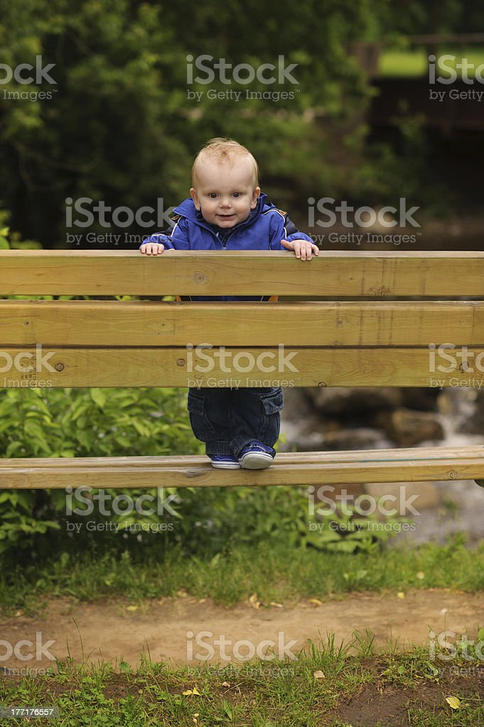 Baby Standing on Wooden Bench royalty-free stock photo