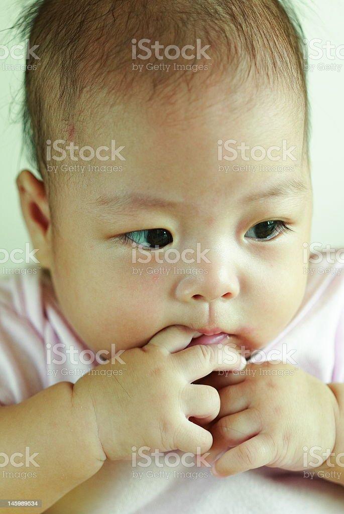 baby suck finger royalty-free stock photo