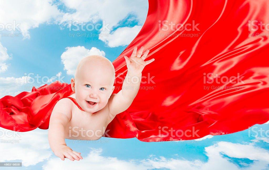 Baby Superhero, Kid Super Hero, Red Superman Cape, Child Boy stock photo