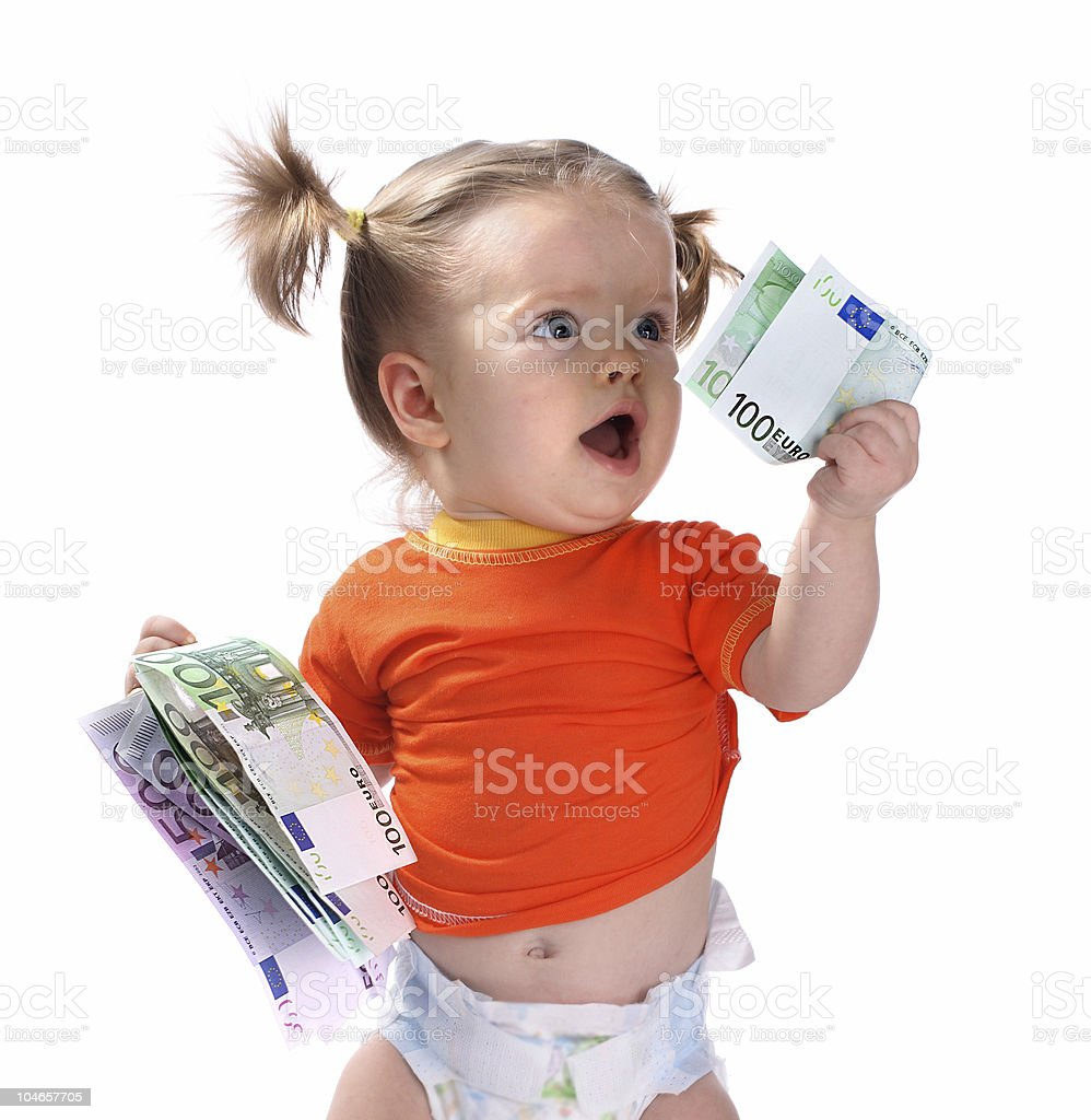 Baby taking euro. royalty-free stock photo