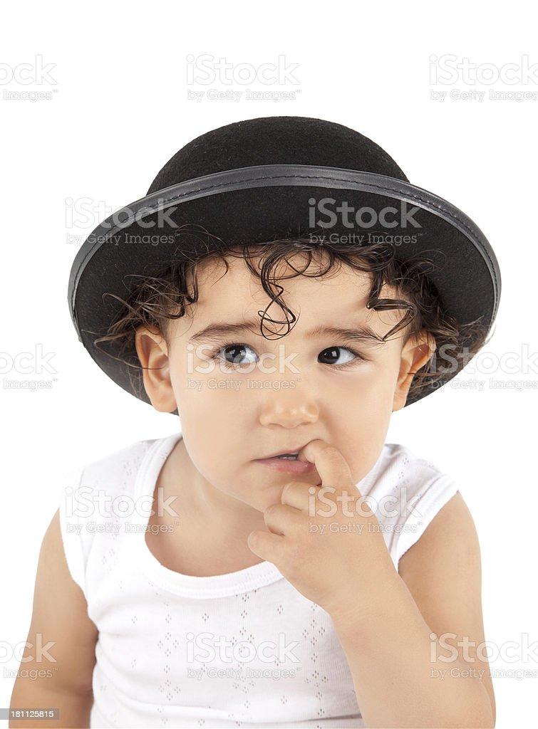 Baby thinking stock photo