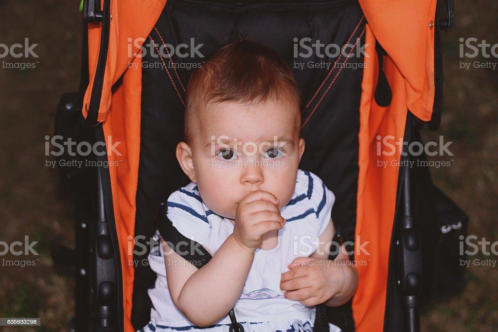 Baby thumb sucking stock photo