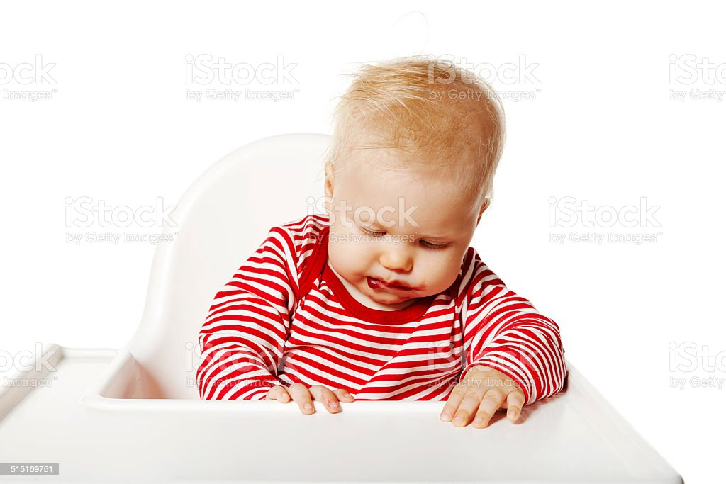 Baby Tired After Eating stock photo