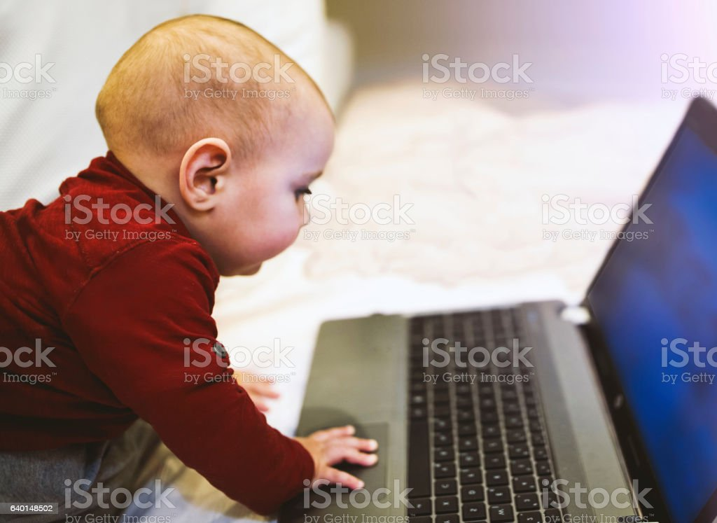 Baby using computer. IT sector is his future. stock photo