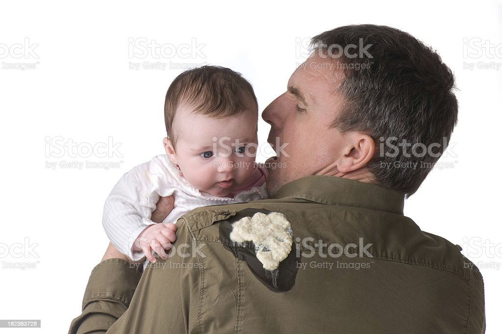 baby vomit stock photo