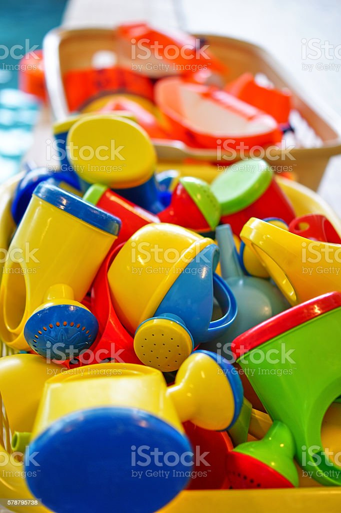 Baby Watering pots in many colours stock photo