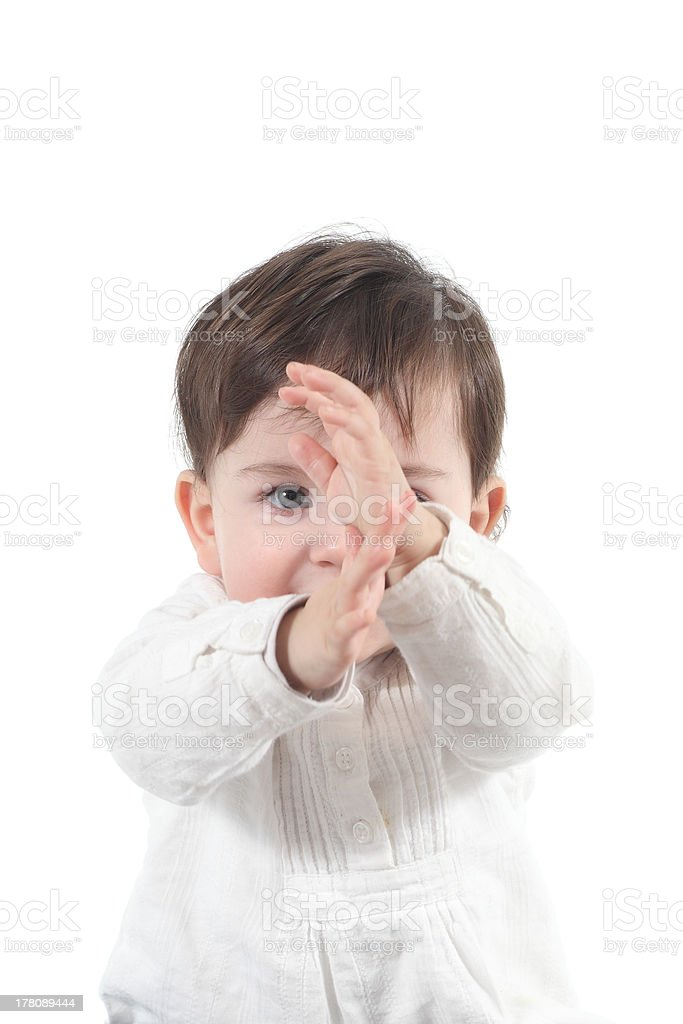 Baby with a karate gesture royalty-free stock photo