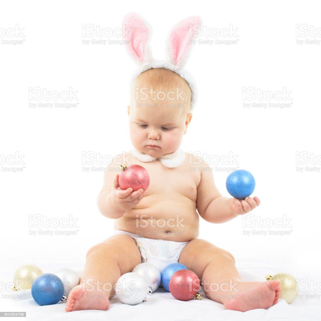 Baby with Bunny Ears stock photo