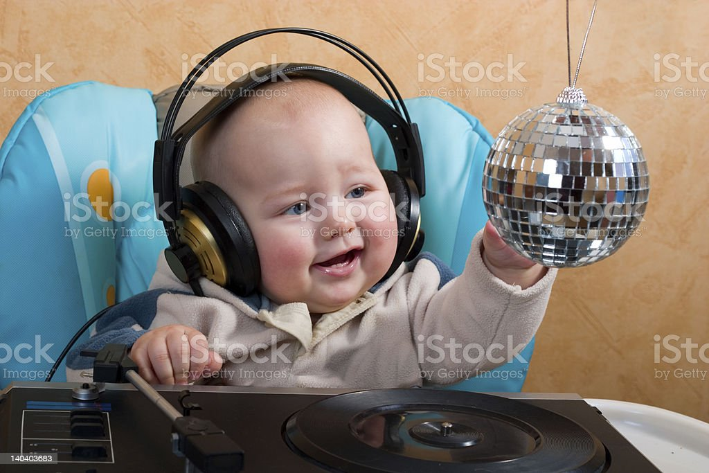 baby with disco ball royalty-free stock photo