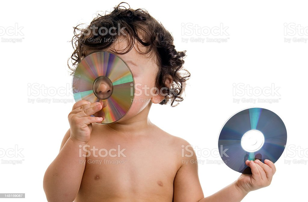 Baby with disk. royalty-free stock photo