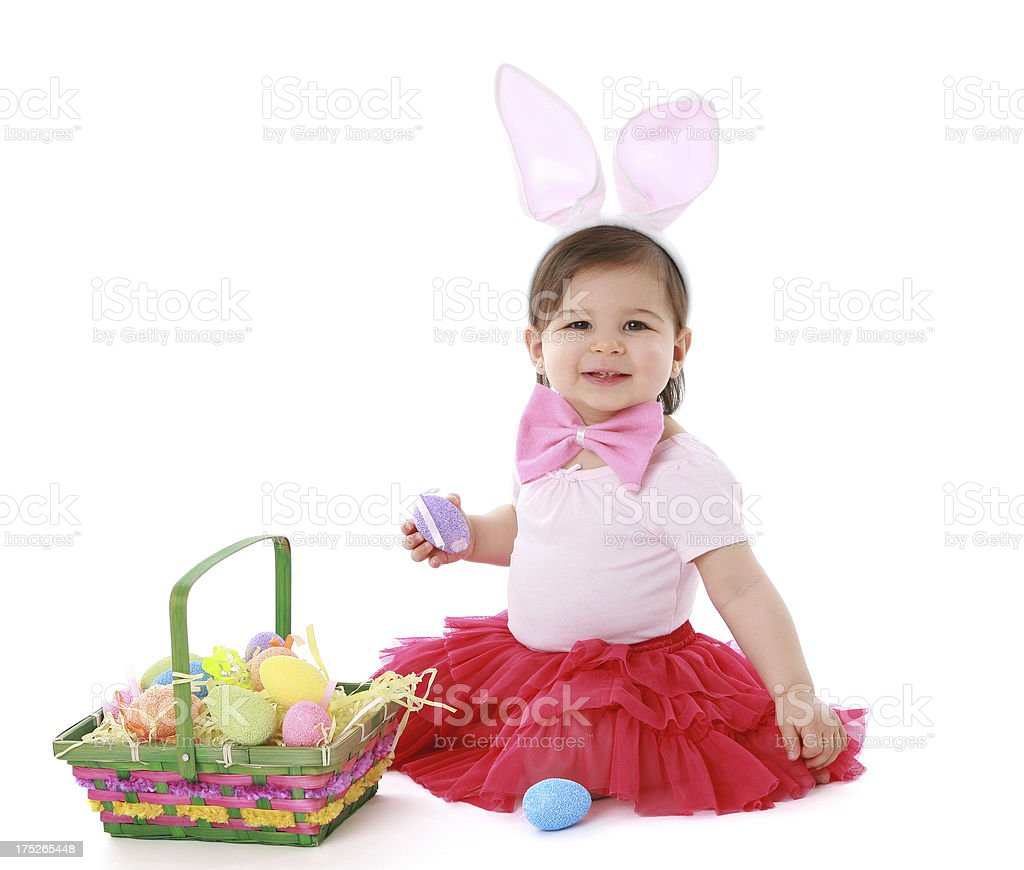 Baby With Easter Eggs royalty-free stock photo
