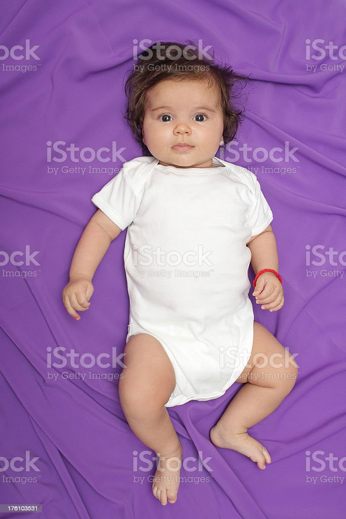 Baby with fashionable onesie stock photo