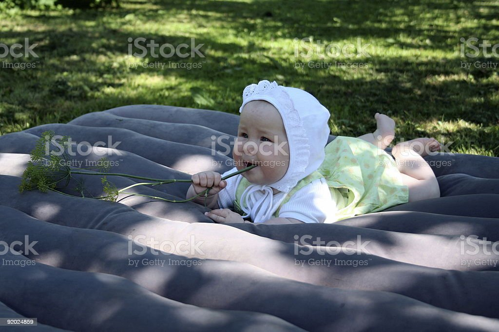 Baby with fennel royalty-free stock photo