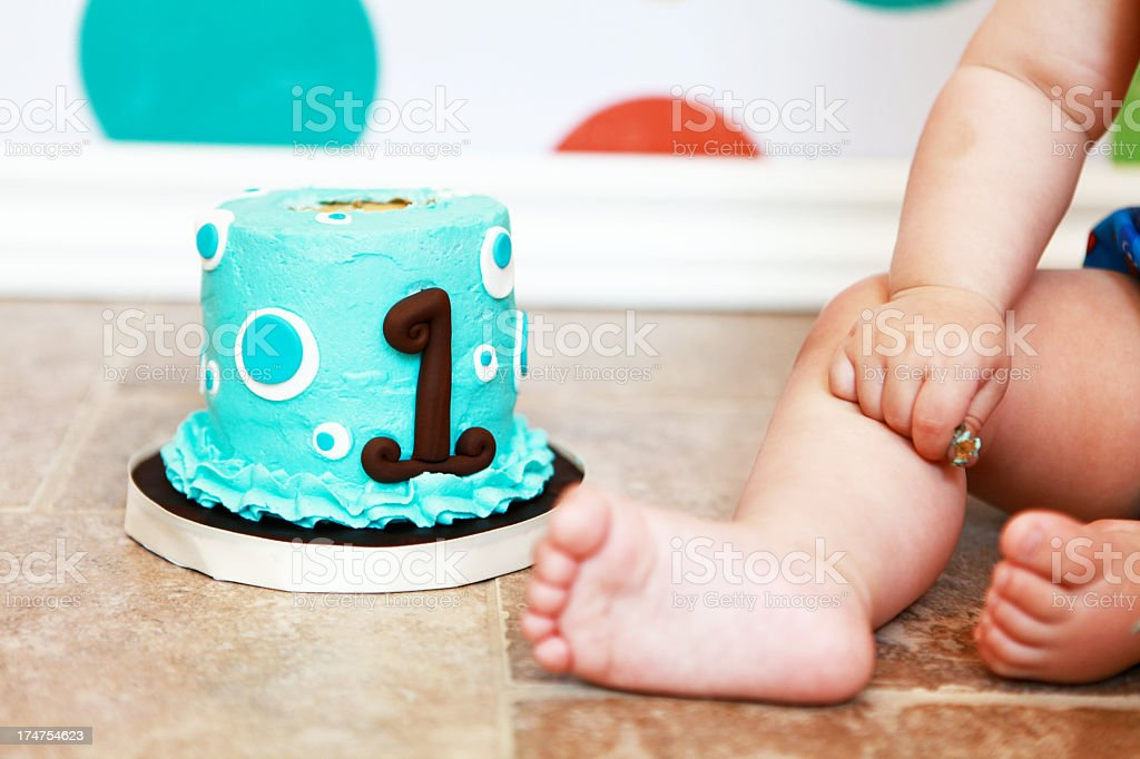 Baby with First Birthday Cake stock photo