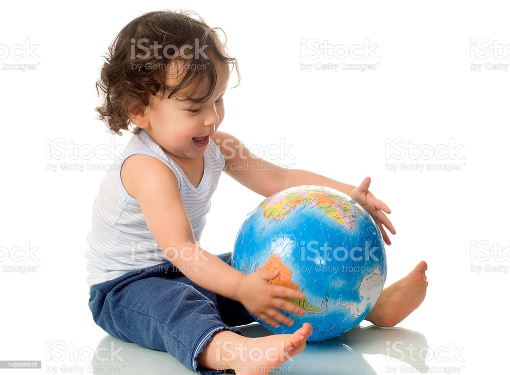 Baby with globe. royalty-free stock photo