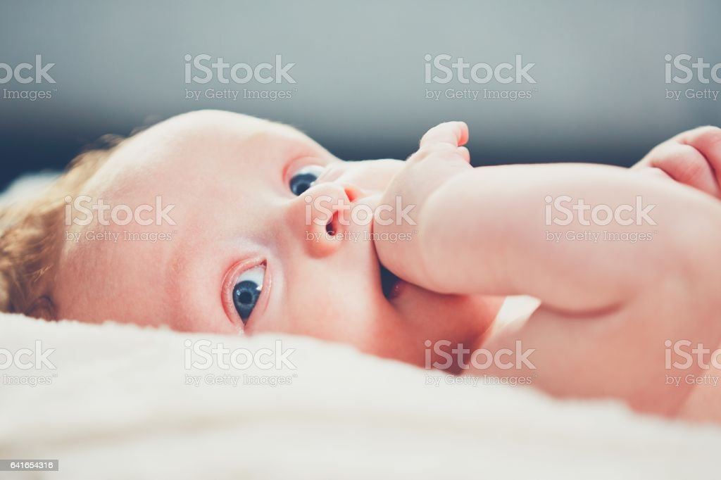 Baby with hand in his mouth stock photo