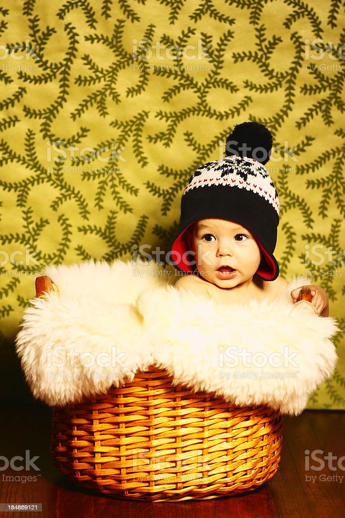 Baby with Knit Hat stock photo