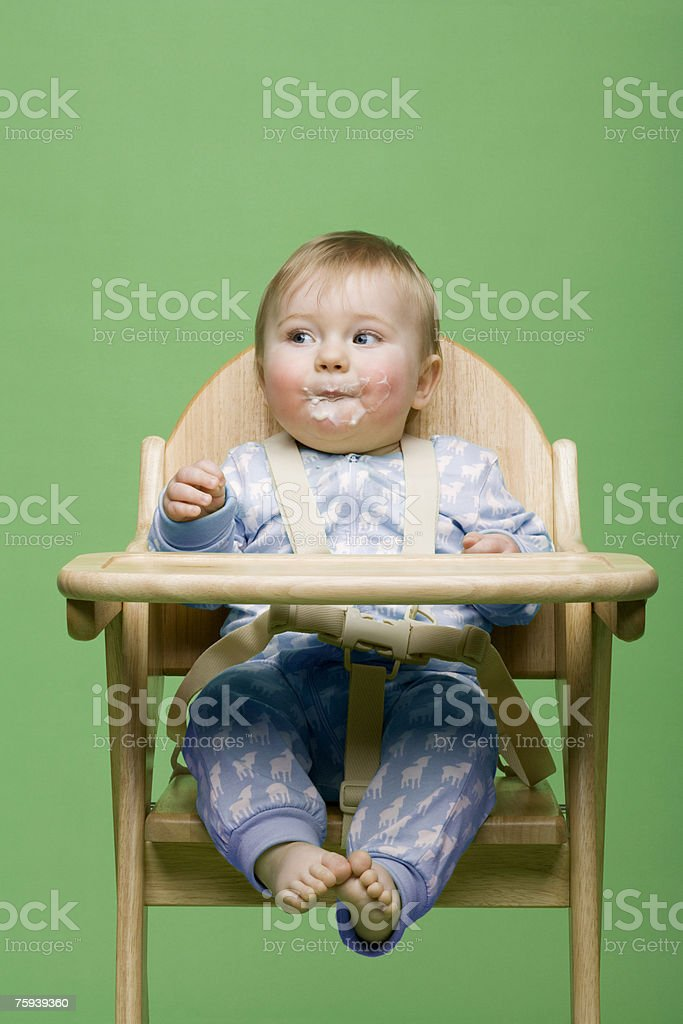 Baby with messy face royalty-free stock photo